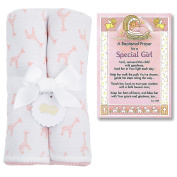 Baptism Gifts for Girl | Pink Giraffe Baby Blanket From Mud Pie and Christening Prayer Card | Christening Gift for Girls from Godparents or Grandparents | Bundle of 2 items