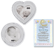 Baptism Gifts for Boy | Beaded Circle and Heart Frame Set From Mud Pie and a Baptism Prayer Card | Christening Gift for Boys from Godmother