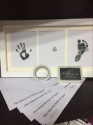 Leoyoubei Newborn Baby Handprint and Footprint Solid Photo Frame Kit Includes Clean Touch Ink Box, Unique Baby Shower Gift Register - 10cm X 15cm Wood Frame