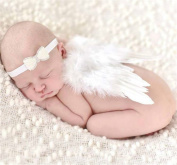 Newborn Baby Angel Feather Photography Props with Headband, White