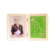 Smartcoco Cute Photo Frame Soft Clay Imprint DIY Baby Footprint Hand Print Cast Set Gift Safe Inkpad Non Toxic Easy To Use Two Fold White frame+Pink mud/Light Blue Mud/Apple-green mud