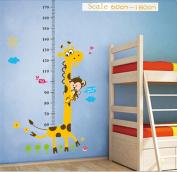 Kids Growth Height Chart Measure Rule Removable Vinyl Decal Sticker Wall Decor Giraffe & Monkey