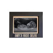 Pearhead Baby's First Selfie Keepsake Sonogram Photo Frame, Black/Gold