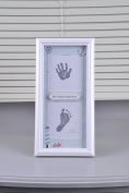 BabyIn PRECIOUS BABY HANDPRINT and Footprint Frame Kit - Baby Prints Photo Keepsake with Wood Frame With Safe Acrylic Glass Non-Toxic Ink Pad,Great Baby Gift For Baby Registry