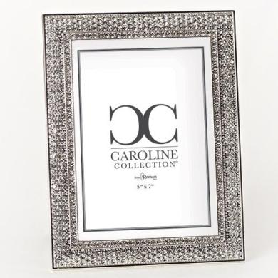 Roman Inc. Caroline Collection Wedding / Anniversary 22cm H Frame with Crystal Holds 5x 7 Photo