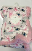 Safari Pink Baby Blanket owl/elephant/giraffe on White