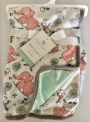Safari Baby Blanket (Monkey/Elephant/Birds) on White