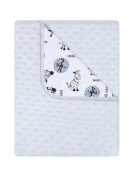 "BlueberryShop Minky Printed Cotton Blanket For Baby Toddler 90 cm x 80 cm (35.5"" x 31.5"") ( 0-5 Yrs ) ( 80 x 90 cm ) Grey"