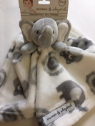 Blankets & Beyond Grey & White Elephant Security Blanket