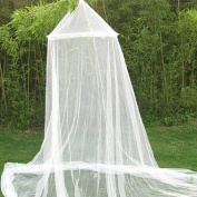 Chen Rui(TM) Mosquito Net Round White Dome Lace Bed Canopy For Indoors/ Outdoors, Playgrounds, Queen/ King Beds, Cribs