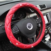 Follicomfy Microfiber Leather Auto Car Steering Wheel Cover,Anti Slip Universal 38cm ,Red