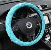 Follicomfy Comfort Leather Auto Car Steering Wheel Wrap Cover,Anti Slip Universal 38cm ,Blue