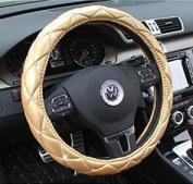 Follicomfy Leather Auto Car Steering Wheel Cover,Anti Slip Comfort Elegant Universal 38cm ,Gold