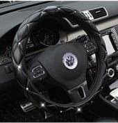 Follicomfy Microfiber Leather Auto Car Steering Wheel Cover,Anti Slip Universal 38cm ,Black