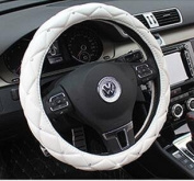 Follicomfy Comfort Leather Auto Car Steering Wheel Cover,Anti Slip Universal 38cm Diamond & Crown,White