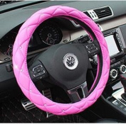 Follicomfy Comfort Leather Auto Car Steering Wheel Wrap Cover,Anti Slip Universal 38cm ,Pink