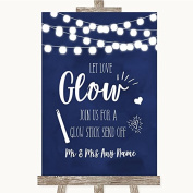Navy Blue Watercolour Lights Let Love Glow Glowstick Personalised Wedding Sign