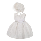 Lito Angels Baby Girls' Diamante Lace Baptism Christening Gown Wedding Flower Girl Dress