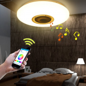 HOREVO 36W 50cm Flush Mount Bluetooth Ceiling Light Fixture with Speakers Smartphone APP with Timing Function Colourful Lights, Warm / Cool Ligth Change by Mobilephone
