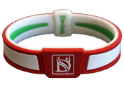 Dr-ion Negative Ion Performance/Power Wristband of Double-Tone Design (Green/Orange Red/White)