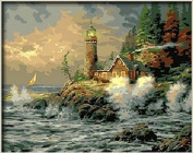 Dorara DIY Oil Painting Paint By Number Hand Paintworks 16×50cm Courage by Thomas Kinkade