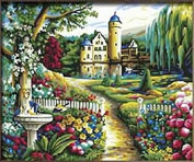 Dorara DIY Oil Painting Paint By Number Hand Paintworks 16×50cm Garden landscape