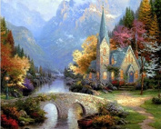 Dorara DIY Oil Painting Paint By Number Hand Paintworks 16×50cm Thomas Kinkade The Mountain Chapel