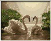 Dorara DIY Oil Painting Paint By Number Hand Paintworks 16×50cm Two Beauty Swans