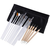 MICG 20-Piece Handmade Detail Manicure Paint Brush Set for Art Acrylic Watercolour Oil Painting