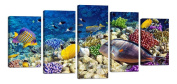 Ardemy Canvas Art Prints Colourful Sea World Coral-5 Pieces Gallery Wrapped Wooden Frame Picture Artwork for Living Room Kids Nursery Room Birthday Gifts