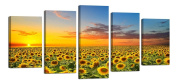 Ardemy Modern Wall Art Sunflowers Field Under Sunset Canvas Gallery Wrapped Landscape Artwork Picture Painting for Living Room Bedroom Home and Office Decor