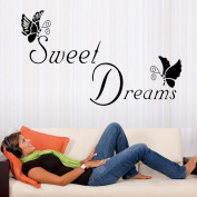 Wall Stickers,Sweet Dreams Butterfly Love Quote Wall Stickers Bedroom Removable Decals DIY