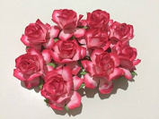 25 pcs BIG Rose Reddish-pink colour Mulberry Paper Flower 40mm scrapbooking wedding doll house supplies card