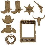 Creative Embellishments Cowboy Laser Cut Chipboard - 9 piece set