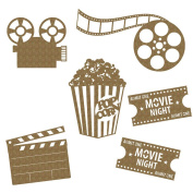 Creative Embellishments Movie Night Laser Cut Chipboard - 6 piece set