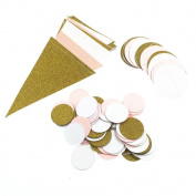 Paper Garland, Hotpar Pink White Gold Triangle Flag Bunting Banner, Glitter Paper Banners for Wedding, Baby Shower, Event & Party Supplies