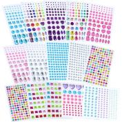 Lanpu Self-adhesive Rhinestone Sticker Bling Craft Jewels Crystal Gem Stickers, Multi-colour & Shape, Assorted Size, 15 Sheets