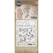 Sizzix Tim Holtz Alterations Stamp, Die & Texture Fade, Cat Chat
