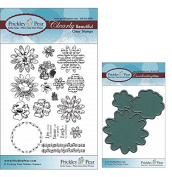 Prickley Pear Flowers Clear Stamp and Die Set # 1 - CLR012 & PPRS-D012 - Bundle 2 Items