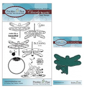 Prickley Pear Dragonfly Clear Stamp and Die Set # 1 - CLR011 & PPRS-D011 - Bundle 2 Items