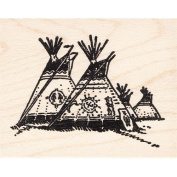 Large Tepees Rubber Stamp