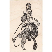 Maiden Riding a Horse Rubber Stamp