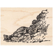 Right Rocky Cliff Rubber Stamp