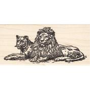 Lion & Lioness Rubber Stamp Wildlife