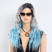 STfantasy Black Blue and Grey Display Female Mannequin Wigs Long Natural Wave Synthetic Hair Colourful Peluca 70cm 205g