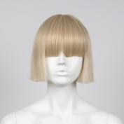 STfantasy Blonde Display Female Mannequin Wigs Short Straight Synthetic Hair Blunt Bang Peluca 30cm 120g
