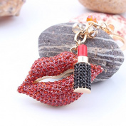 Nument(TM)Red lips lipstick diamond Metal Car Keychain Key Ring Handbag Decoration Gift Box Packed