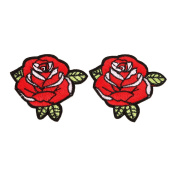 LALANG 2pcs Red Rose Flower Embroidery Applique Cloth DIY Sewing or Iron On Patch Badge