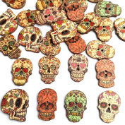 Zeroyoyo 50PCs Wooden Buttons Skull Head Shaped Flower 2-hole Sewing Crafting Scrapbook DIY