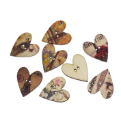 100 Global Travel World Landmark Themed Wood Buttons Two Holes Heart Shaped Mixed Patterns 25 x 28mm Craft Wood Buttons